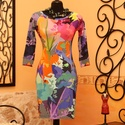 Színes art pöttyös ruha , Ruha, divat, cipő, Női ruha, Ruha, Vigyél színt a szürke hétköznapokba...  Igazán különleges mintájú  tavaszi ruha...  Dekoratív, 3/4-e..., Meska