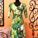Verőfényes zöld levelek ruha, Ruha, divat, cipő, Női ruha, Ruha, Vigyél színt a szürke hétköznapokba...  Különleges ruha, gyönyörű levelekkel, pompázó zöld színekben..., Meska