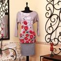 Bíbor rózsák tunika, Ruha, divat, cipő, Női ruha, Felsőrész, póló, Blúz, Vigyél színt a szürke hétköznapokba...  Különleges színvilágú, romantikus rózsa mintás nőies tunika!..., Meska