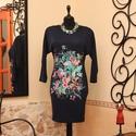 Türkiz virágcsokor mélykékkel tunika  - ruha, Ruha, divat, cipő, Női ruha, Ruha, Varrás, Vigyél színt a szürke hétköznapokba...  Dekoratív, gyönyörű sötétkék alapszínű, denevér ujjú, szépe..., Meska