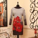 A bűvös virág  pulóverruha, Ruha, divat, cipő, Női ruha, Ruha, Vigyél színt a szürke hétköznapokba...  Kellemes színvilág mutatós motívummal az elején és a hátán i..., Meska