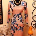 Narancs-korall ruha varázslatos kék levelekkel, Ruha, divat, cipő, Női ruha, Ruha, Vigyél színt a szürke hétköznapokba...  Gyönyörű őszies színvilágú, különleges  hangulatú ruha.  Dek..., Meska