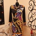 Láncmintás, egzotikus alkalmi ruha, Ruha, divat, cipő, Női ruha, Ruha, Vigyél színt a szürke hétköznapokba...  Különleges mintájú  alkalmi ruha. Optikai alakformálás felső..., Meska