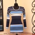 Elegáns kék csíkos tengerész stílus tunika , Táska, Divat & Szépség, Női ruha, Ruha, divat, Póló, felsőrész, Vigyél színt a szürke hétköznapokba...  Klasszikus színvilágú, elegáns, akár tengerparti stílusú vék..., Meska