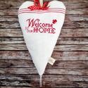 Welcome home hímzett lenvászon szívecske csengővel, Otthon & lakás, NoWaste, Lakberendezés, Falikép, Konyhafelszerelés, Egy kis régies, vidékies romantika... Különleges dísze lehet a lakásodnak vagy a munkahelyednek ez a..., Meska