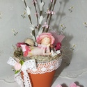 Kedves, rózsácskás asztaldísz, pasztell színekben!, Otthon, lakberendezés, Dekoráció, Kaspó, virágtartó, váza, korsó, cserép, Asztaldísz, Virágkötés, Kedves, rózsácskás, cserepes asztaldísz, pasztell színekben. Saját összeállítású termék ! Selyem vi..., Meska