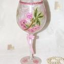 Üde, virágmintákkal dekorált üveg-kehely., Dekoráció, Otthon, lakberendezés, Ünnepi dekoráció, Kaspó, virágtartó, váza, korsó, cserép, Decoupage, szalvétatechnika, Üde, virágmintákkal dekorált üveg-kehely. Magassága 23cm. Saját készítésű termék ! Japán csipkepapí..., Meska