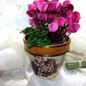 Dekoratív, virágmintás, cserép kaspó !, Dekoráció, Otthon, lakberendezés, Kaspó, virágtartó, váza, korsó, cserép, Dísz, Dekoratív, virágmintás, cserép kaspó! Magassága 11cm, átmérője felül 13cm, átmérője alu..., Meska