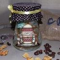 Kávésüveg mackókkal, 100 gr. kávénak., Konyhafelszerelés, Dekoráció, Bögre, csésze, Fűszertartó, Decoupage, szalvétatechnika, Kávésüveg mackókkal, 100 gr. kávénak. Magassága 13cm, 100 gr. kávé fér el benne, de tarthatunk benn..., Meska