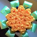 Nap sárga csokor, Dekoráció, Esküvő, Ünnepi dekoráció, Esküvői csokor, Mindenmás, Szatén szalagból készült csokor. Minden virágot saját magam hajtottam. 13 db rózsából van. 27 cm ma..., Meska