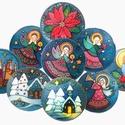 Karácsonyi selyem ablakképek, Otthon, lakberendezés, Falikép, 25 cm átmérőjű kézzel festett karácsonyi selyemképek, a képen látható választható mintá..., Meska