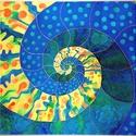 """Kézzel festett egyedi, saját tervezésű selyem kép """"Eredet"""" című, csodálatos spirál (spira mirabilis) mintával, Otthon, lakberendezés, Dekoráció, Falikép, Kép, Kézzel festett egyedi, saját tervezésű selyem kép keskeny, arany fém kerettel.   Mérete: 85x8..., Meska"""