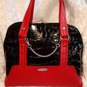 Borony piros-fekete kézitáska BCB-TB710, Táska, Válltáska, oldaltáska, Varrás, Krokodilbőr utánzatú fekete és piros textilbőrből készült kézitáska. Blue Calla design. Külső rész ..., Meska