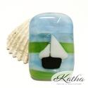 Balatoni hajózás üvegékszer medál, Ékszer, óra, Nyaklánc, Medál, Ékszerkészítés, Üvegművészet, Napsütés, jó levegő és szél, csodálatos kékség. Ez a medál igazán különleges témáját és kivitelezés..., Meska