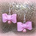 Rózsaszín masnis fülbevaló, Ékszer, Fülbevaló, Édes-aranyos rózsaszín masni fülbevalót készítettem az alján egy tekla gyöngy található  ..., Meska