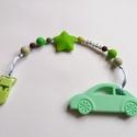 Zöldek szilikon rágcsalánc autó medállal, Baba-mama-gyerek, Játék, Baba-mama kellék, Baba játék, Rágcsalálnc a természet színeiben egy zöld autó medállal a végén, zöld műanyag krokodilcsattal. A me..., Meska