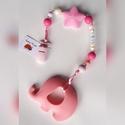 Rózsaszín elefántos rágcsalánc és cumilánc egyben, névre szóló, Baba-mama-gyerek, Játék, Baba-mama kellék, Baba játék, Rózsaszín rágcsalánc egy rózsaszín elefántos medállal a végén és választható csattal. A medál könnye..., Meska