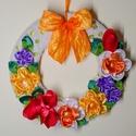 Tavaszkoszorú, Dekoráció, Dísz, Ajtódísz, kopogtató, Kézzel készült virágokból készítettem ezt az ajtódíszt, jellegzetes tavasz-virágokból. A ..., Meska