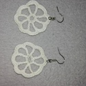 Fehér csipke fülbevaló, Ékszer, Fülbevaló, Fehér csipke fülbevaló,átmérője 3,5cm., Meska