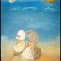Vándorlás a tengernél, Dekoráció, Dísz, Mindenmás, A háttér szabad kézzel festett fenyő falapra akril festékkel ,az alakok kavicsok - kövek felragaszt..., Meska