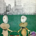 Kavicsokból készített falikép, Dekoráció, Kép, Mozaik, A kép címe: Barátnők A kép háttere szabd kézzel festett decoupage technikával ötvözve, védő lakkal ..., Meska