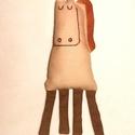 Szerafin - a játékló, Képzőművészet, Játék, Plüssállat, rongyjáték, Játékfigura, Varrás, Ló. Eredeti :)  16 cm test, 8 cm lábak. Hímzett pamutvászon., Meska