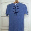 Guy Fawkes póló, Ruha, divat, cipő, Festészet, Egyedi, szabadkézzel rajzolt póló. A képen a Guy Fawkes maszk szerepel a V, Mint Vérbosszú című fil..., Meska