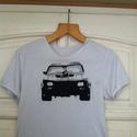 Mad Max póló, Ruha, divat, cipő, Festészet, Egyedi, szabadkézzel rajzolt póló. A képen a V8-as különleges üldöző jármű szerepel a Mad Max című ..., Meska