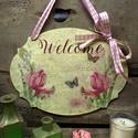 Welcome feliratos tábla tavaszi virágokkal, Otthon, lakberendezés, Ajtódísz, kopogtató, Ezt a táblát  a részemre egyedileg gyártott 4 mm-es fa alapra készítettem. Tavaszi virágos szalvétát..., Meska