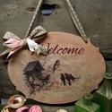 Welcome feliratos madárkás tábla, Otthon, lakberendezés, Ajtódísz, kopogtató, Ezt a táblát a részemre egyedileg gyártott 6 mm-es fa alapra készítettem. Madárkás rizspapí..., Meska