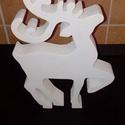 Karácsonyi szarvas dekoráció., Otthon, lakberendezés, Asztaldísz, Festészet, Fehér szarvas dekoráció. 4cm vastag polisztirol lapból készült és matt akrilfestékkel van fehérre f..., Meska