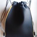 hátizsák / tornazsák II., Táska, Hátizsák, Férfi táska, Tarisznya, Varrás, Ez a tornazsák kinézetű hátizsák, fekete-sárga neoprén-szivacs anyagból készült. A belseje csupa sá..., Meska