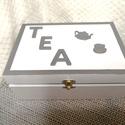 Teafiltertartó dobozka, Otthon & Lakás, Tárolás & Rendszerezés, Doboz, Decoupage, transzfer és szalvétatechnika, Festett tárgyak, Teafiltertartó dobozka ,6 fakkos, mérete 23x16x9cm A nyers fadobozt megvásárolva varázsoltam egyedi..., Meska
