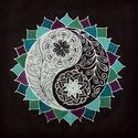 Egybeolvadás, Dekoráció, Kép, 50*50 cm-es selyemkép, habkartonra kasírozva.  Hernyóselyemre festett és fixált, saját tervezésű man..., Meska