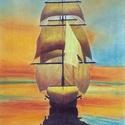 Hajó, Képzőművészet, Dekoráció, Kép, Grafika, Festészet, Pasztell krétával, pasztell ceruzával és színes ceruzával készült A/3-as kép.  Keret és paszpartu n..., Meska