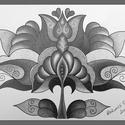 Tulipán 2, Képzőművészet, Dekoráció, Kép, Grafika, Fotó, grafika, rajz, illusztráció, A/4-es kartonra alkoholos filccel rajzolt, és grafittal színezett, saját tervezésű tulipán. A képet..., Meska