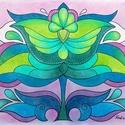 Tulipán 3, Képzőművészet, Dekoráció, Kép, Grafika, Fotó, grafika, rajz, illusztráció, A/4-es kartonra alkoholos filccel rajzolt, színes és pasztellceruzával színezett, saját tervezésű t..., Meska