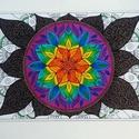Mandala, Képzőművészet, Dekoráció, Kép, Grafika, Fotó, grafika, rajz, illusztráció, A/4-es kartonra, színesceruzával és zselés filccel készült mandala. Paszpartuval, de keret nélkül k..., Meska