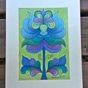 Tulipán 4, Képzőművészet, Dekoráció, Kép, Grafika, Fotó, grafika, rajz, illusztráció, A/4-es kartonra alkoholos filccel rajzolt, pasztellceruzával színezett, saját tervezésű tulipán. A ..., Meska