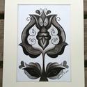 Tulipán 5, Képzőművészet, Dekoráció, Kép, Grafika, Fotó, grafika, rajz, illusztráció, A/4-es kartonra alkoholos filccel rajzolt, szénceruzával színezett, saját tervezésű tulipán. A képe..., Meska