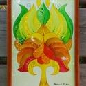 Béke szirmaim - falikép, Képzőművészet, Dekoráció, Kép, Grafika, Fotó, grafika, rajz, illusztráció, Festészet,  A/4-es, 250 gr-os akvarell kartonra festett, saját tervezésű tulipán motívum, színes ceruzával fin..., Meska