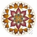 Mandalás falikép, Dekoráció, Magyar motívumokkal, Kép, 30 x 30 cm-es, fehér művész kartonra színes ceruzával készült saját tervezésű tulipán motívum 30*30 ..., Meska