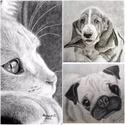 A Te kedvenced, Dekoráció, Képzőművészet, Kép, Grafika, Küldd el kedvenc állatod fotóját és én megrajzolom.  A/4-es fehér kartonra grafittal vagy szénnel ké..., Meska