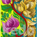 Virágfüggöny 2 - falikép, Dekoráció, Magyar motívumokkal, Kép, A/3-as DIPA-ra készült saját tervezésű rajz, színes ceruzával színezve. Eredeti, egyetlen példányban..., Meska