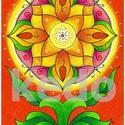 Napraforgó mandalavirág- falikép, Dekoráció, Magyar motívumokkal, Kép, Fotó, grafika, rajz, illusztráció, A kép 300 gr-os Fabriano papírra készült színes ceruzával színezve. Eredeti, egyetlen példányban ké..., Meska