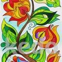 Virágfüggöny 1, Dekoráció, Magyar motívumokkal, Kép, A kép 300 gr-os Fabriano papírra készült akvarell festékkel. Eredeti, egyetlen példányben készült.  ..., Meska