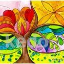 Szeretet öröme - falikép, Képzőművészet, Dekoráció, Kép, Grafika,  A/4-es, 300 gr-os akvarell kartonra festett, saját tervezésű fa motívum, színes ceruzával finomítva..., Meska
