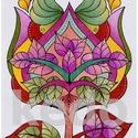 Tulipánfa, Dekoráció, Magyar motívumokkal, Kép, A/4-es fehér DIPA kartonra színes ceruzával készült saját tervezésű tulipánfa motívum paszpartuzva, ..., Meska