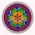 Mandala, Képzőművészet, Dekoráció, Kép, Grafika, A/4-es akvarell kartonra, színesceruzával és zselés filccel készült saját tervezésű mandala motívum...., Meska