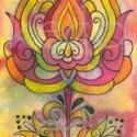 Nyomat A/4-es, Dekoráció, Magyar motívumokkal, Kép, Mávészpapírra készült nyomat, saját készítésű, eredetileg színes ceruzával és akvarell festékkel kés..., Meska